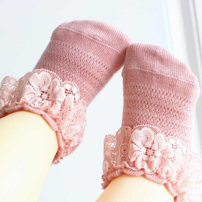 0-2Y Casual Baby Girls Cute Socks Ruffle Lace Design Cotton Short Socks Infant Children Socks
