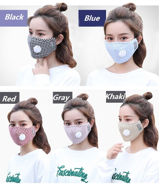 Cute Cotton Plaid Mouth Masks Breath Valve Anti Dust 5-Layer Washable Proof Flu Mouth Mask Windproof Replaceable Filter 2