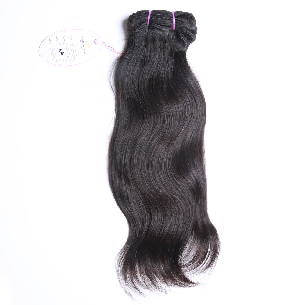 Mayflower 100% Raw Indian Virgin Straight Hair Weft Natural Color Silky Luster 12