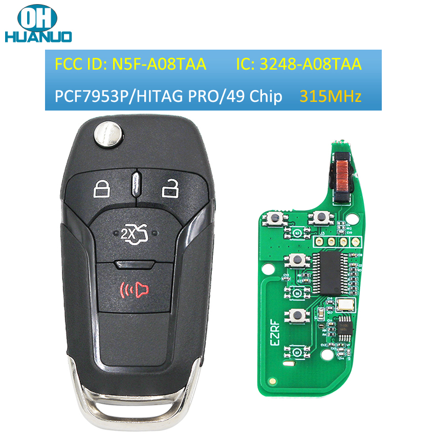 3/3 + 1/4 кнопочный откидной дистанционный ключ брелок 315 МГц чип Hitagpro ID49 для Ford Fusion 2013-2015 FCC ID: N5F-A08TAA HU101