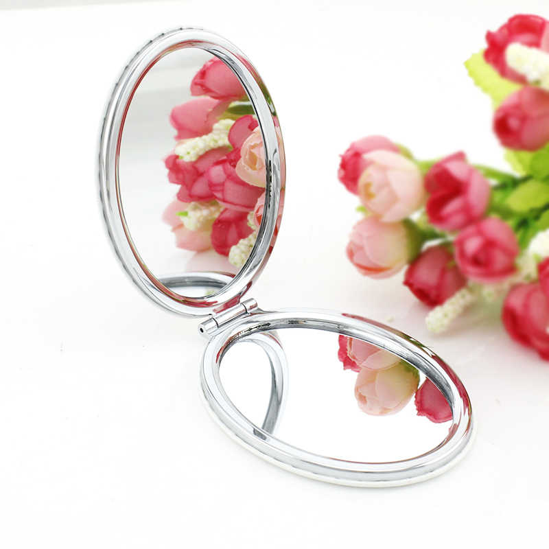 JWEIJIAO new summer cute dog PU leahter Oval small mirrors for women natural animal Double lovery Sides Purse Mirror 1301