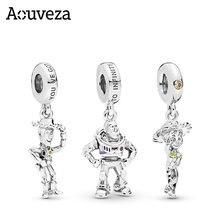 Aouveza 925 prata esterlina charme grânulo hudi buzz lightyear personagem dos desenhos animados encantos caber original pan pulseira de prata 925 jóias