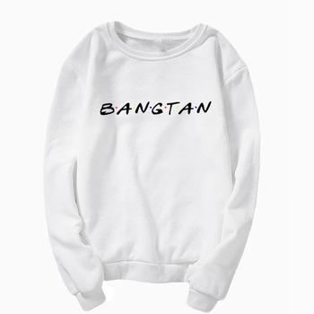 Bangtan bluza KPOP bluza harajuku bluza z kapturem Bangtan Sonyeondan bluza kpop bangtan przyjaciółmi bluza z kapturem tanie i dobre opinie Octan Swetry Bluzy Na co dzień Wafel sweatshirt02 WOMEN List O-neck REGULAR Pełna S M L XL XXL XXXL women s hoodie boy girls male female femme