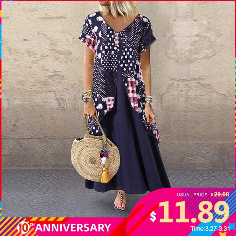 Женское длинное платье-макси в горошек, плиссированное платье большого размера с v-образным вырезом, модель 2020