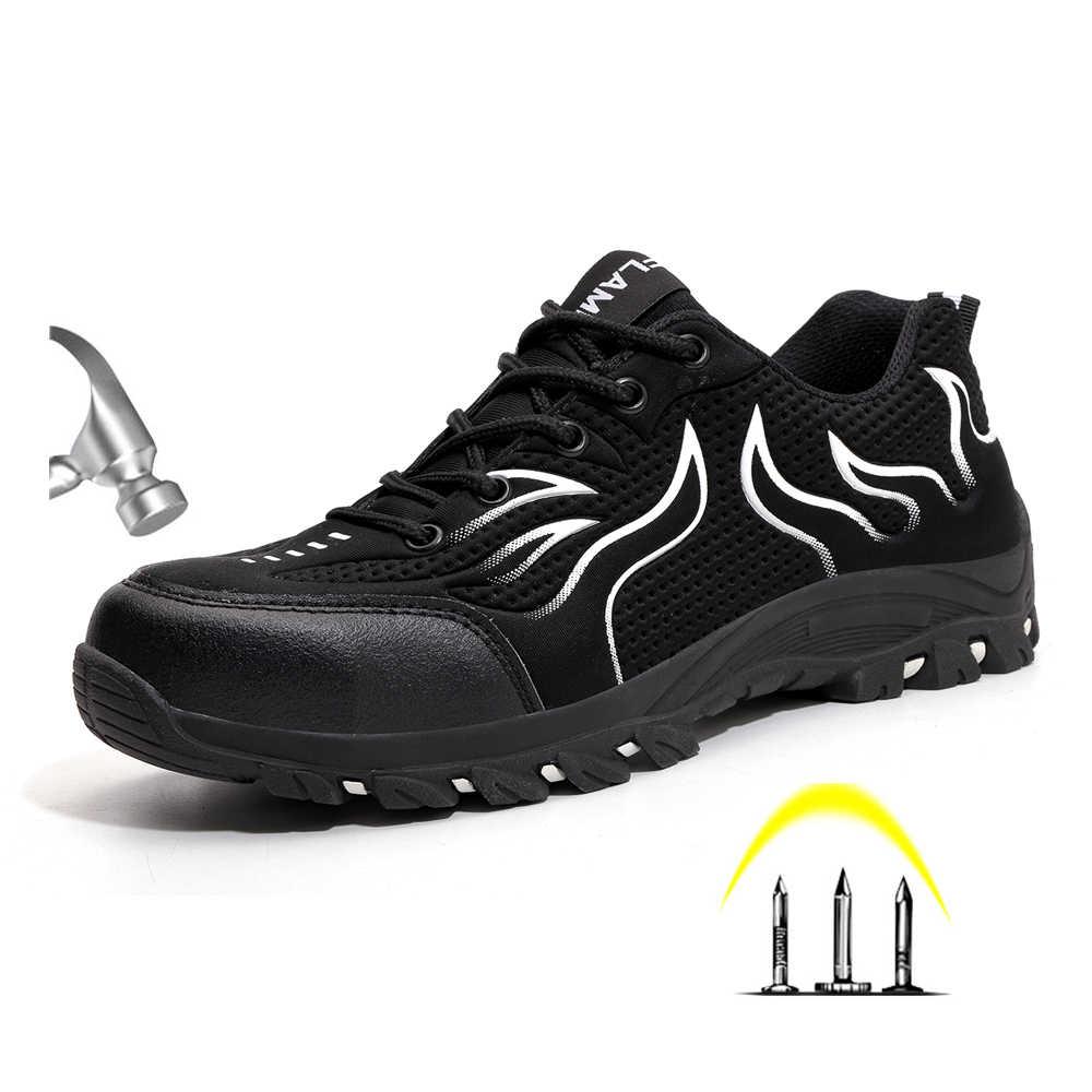 Yeni Yaz erkek Açık Nefes Çelik Ayak Anti Smash Koruyucu iş ayakkabısı Erkekler Delinme Geçirmez Güvenlik Botları Ayakkabı