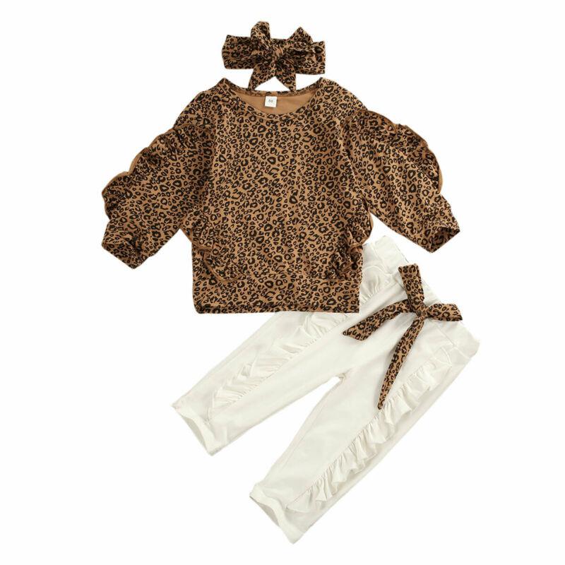 Toddler Baby Girl Long Sleeve Ruffle Dress Tops Headband Outfit 3Pcs Sets Leopard Pants