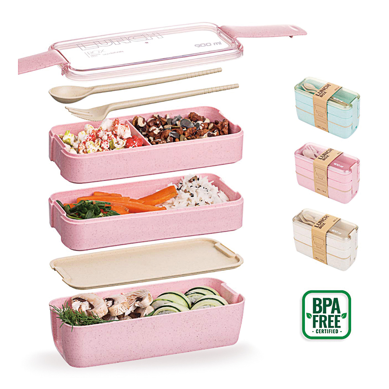 Bento Lunch Box 3 Layer Food Containers Wheat Straw Leak proof Eco Friendly Meal Prep Containers Japanese Style Camping Supplies|Lunch Boxes| |  - title=