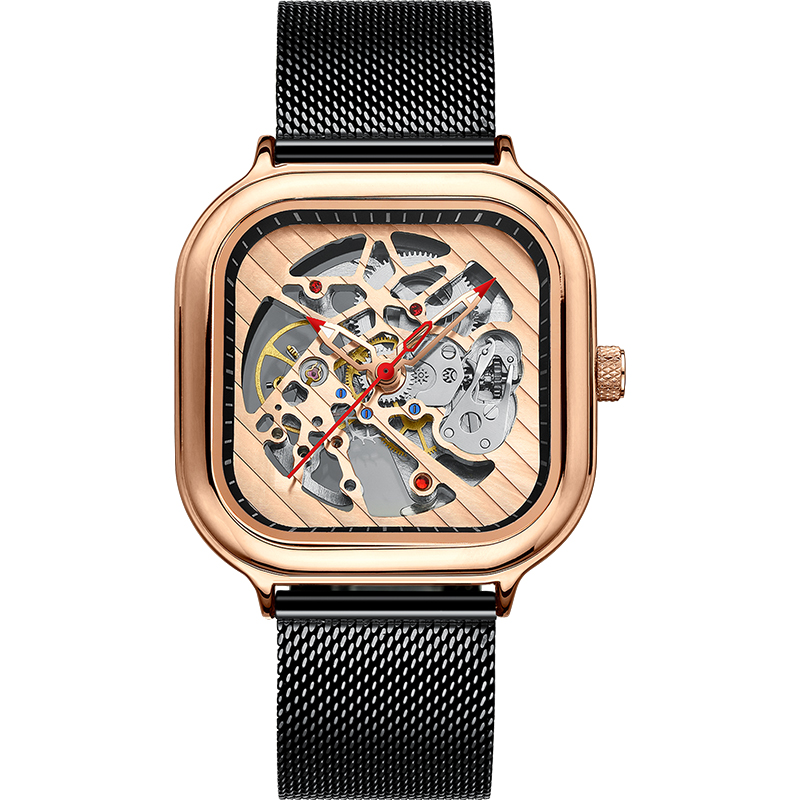 2020 new men's automatic watch top brand luxury silicone strap hollow Swiss square top ten watches 18