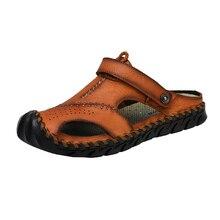 Yeni Casual erkek yumuşak sandalet rahat erkekler yaz deri erkek terlik erkekler roma yaz açık plaj sandalet büyük boy 38 48