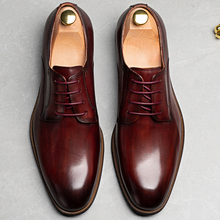 2020 High Quality Italian Genuine Leather Shoes Men Fashion Business Men Oxford Shoes For Suit Wedding Flat Dress Party Shoes