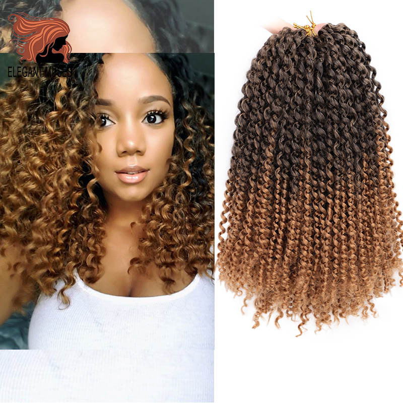 ELEGANT MUSES 14 Inch Kinky Curly Crochet Braids Hair Soft Ombre Braiding Hair Extensions Synthetic Crochet Braid Hair