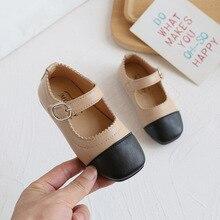New Girls Leather Shoes 2021 Autumn Children Princess Single Shoes Kids Flat Anti-slip Casual Shoes E942