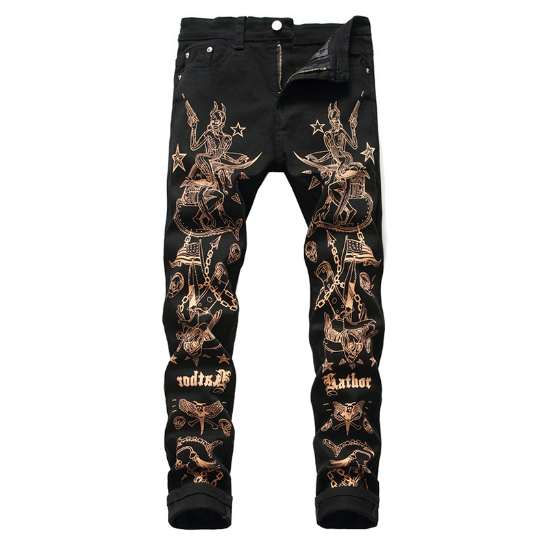 Sokotoo Men's Slim 3D Print Jeans Fashion Sexy Beauty Flag Skull Painted Black Stretch Denim Pants