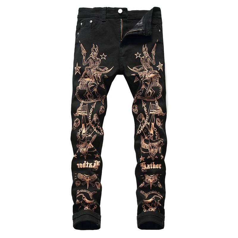 Sokotoo Men's Slim 3D Print Jeans Fashion Sexy Beauty Flag Skull Painted Black Stretch Denim Pants