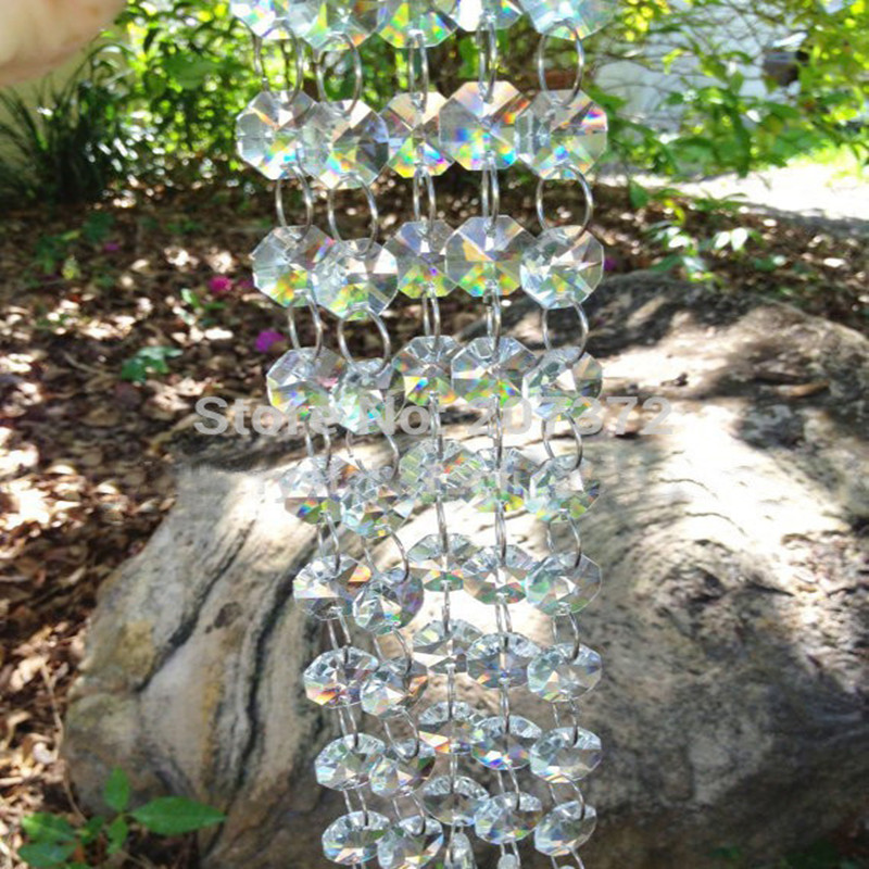 30m crystal acrylic beads strand garland wedding party,Chandelier trimming Curtain lighting decoration,acrylic octagon beads diy