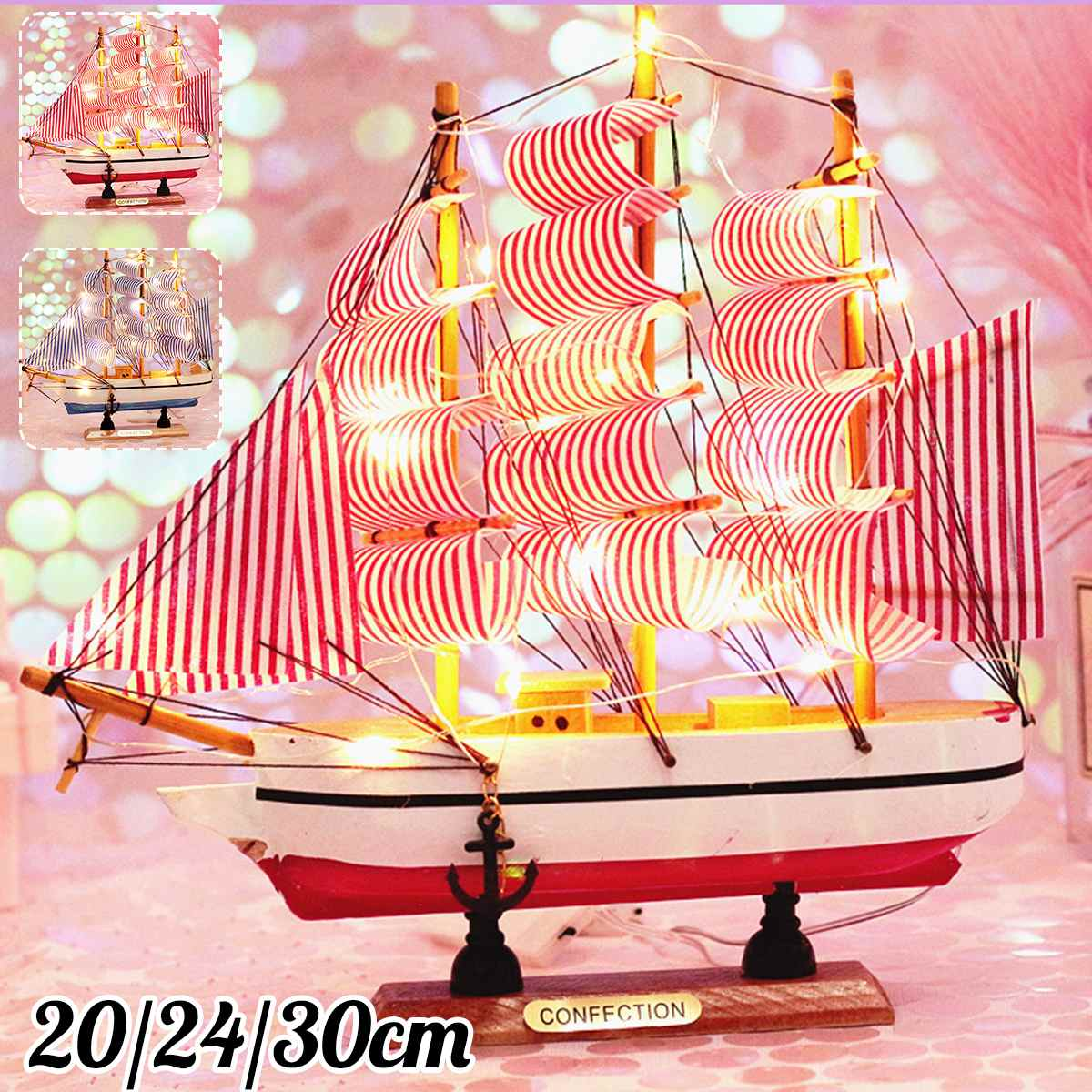 Sailboat Model With Led String 20/24/30cm Model Kits Retro Ship Crafts Handmade Wooden Sailing Boats Kids Toys Gift Home Decor