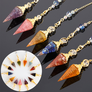 1PC Natural Stone Quartz Rock Choler Crystal Hexagonal Pointed Reiki Chakra Pendant Pendulum Jewelry Accessories for Unisex