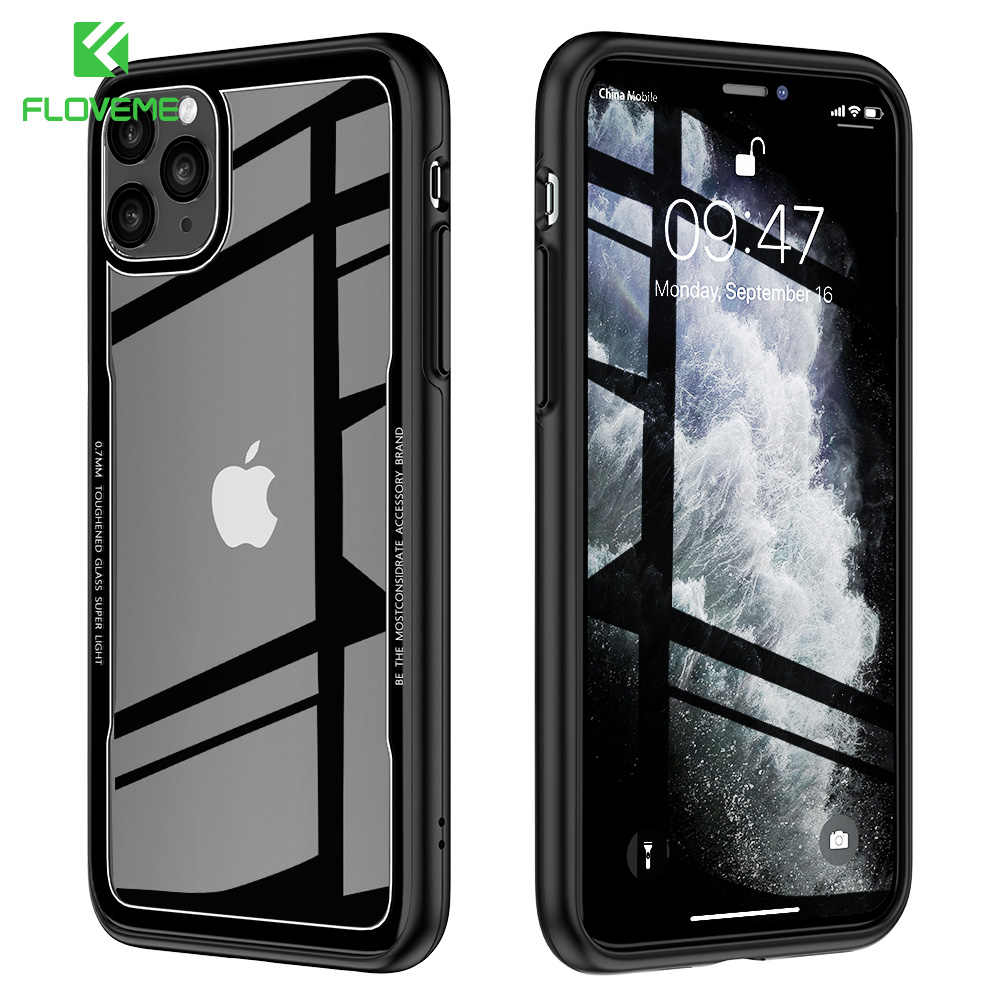 Floveme Gehard Glas Case Voor Iphone X Xs Max Xr Luxe Transparante Case Voor Iphone 7 8 6 6S plus Cover Voor Iphone 11 Pro Max