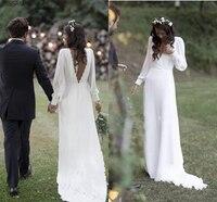 Bohemian Vintage Wedding Dresses V Neck Backless Chiffon Beach Garden Country Wedding Dress Plus Size Bridal Gowns Custom Made