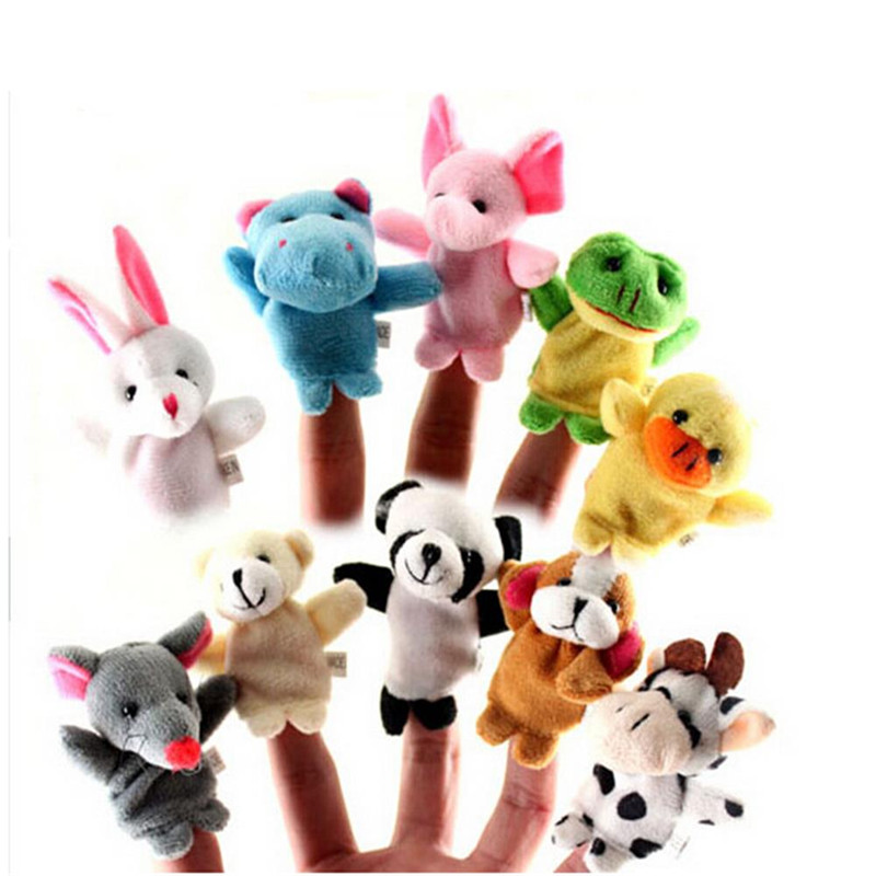 10x Family Finger Puppets Cloth Doll Baby Educational Hand Cartoon Animal Toys