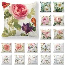 Pintado a mano Rosa Camelia funda floral para cojín caliente poliéster Vintage flores imprimir almohadas funda sofá decorativo cojines