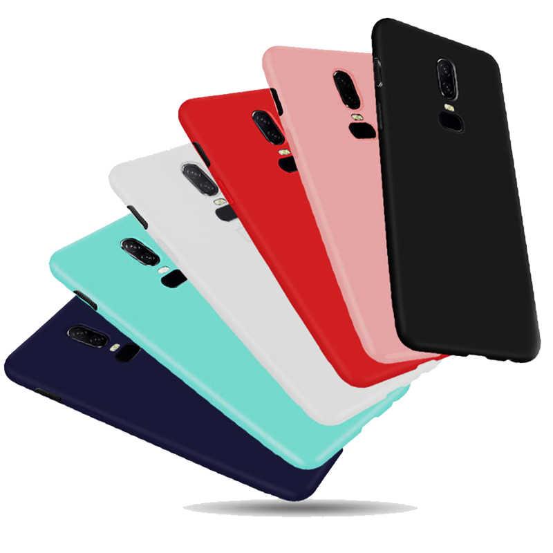 Warna Solid Kembali Cover untuk OnePlus 5 T 5 T 6 1 + 5 1 + 6 OnePlus6 One Plus 6 Permen Matte Silicone Case Smartphone Perlindungan Tas