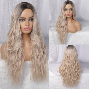 Image 2 - AISIBEAUTY Long Wavy Wigs for Women Synthetic Wigs Omber Blonde/Red Wigs Middle Part  Heat Resistant Fiber 13colors Avaliable
