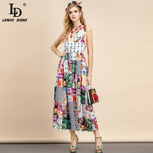 LD LINDA DELLA 2021 Summer Fashion Designer holiday Midi Dress Women scollo a v Multicolor stampa floreale peplo Party abito elegante