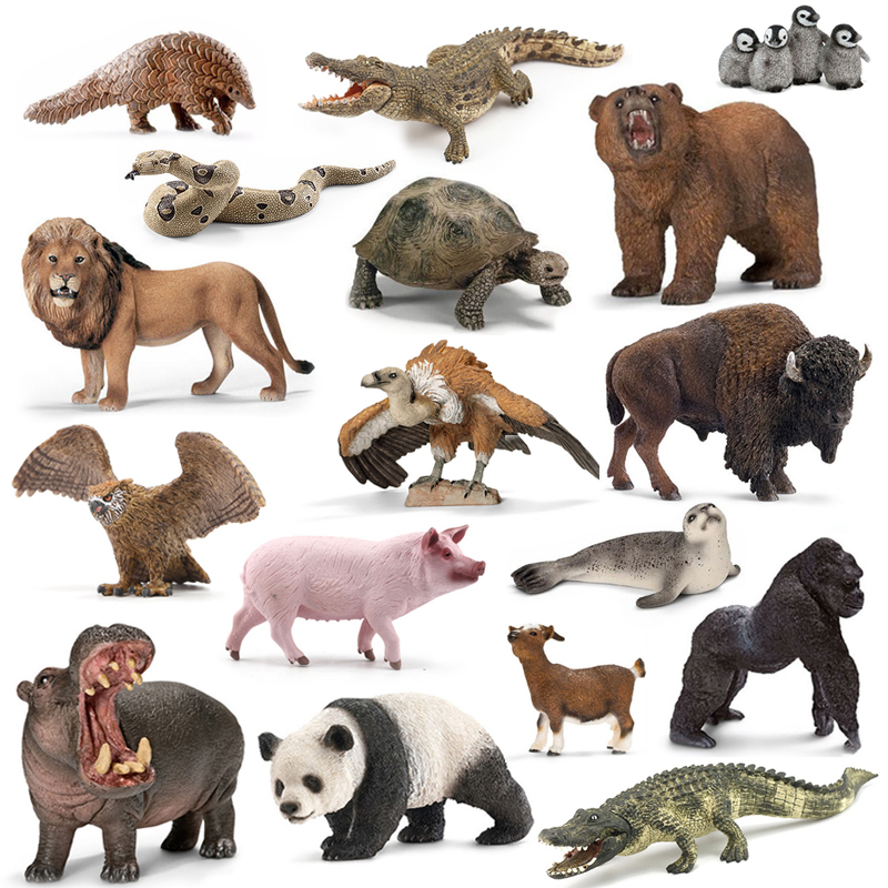 Original Genuine Jungle Wild Life Zoo Farm Animal Sets Dog Wolf Donkey Bull Sheep Hippo Figurine Kids Toy For Children Gift