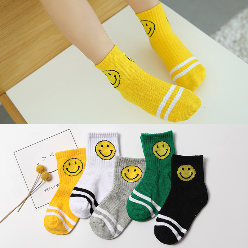 5 Pairs Autumn Baby Boys Girls Cotton Cartoon Candy Colors Smiling Breathable Stylish Socks Infant Toddler Kids Soft Ankle Socks