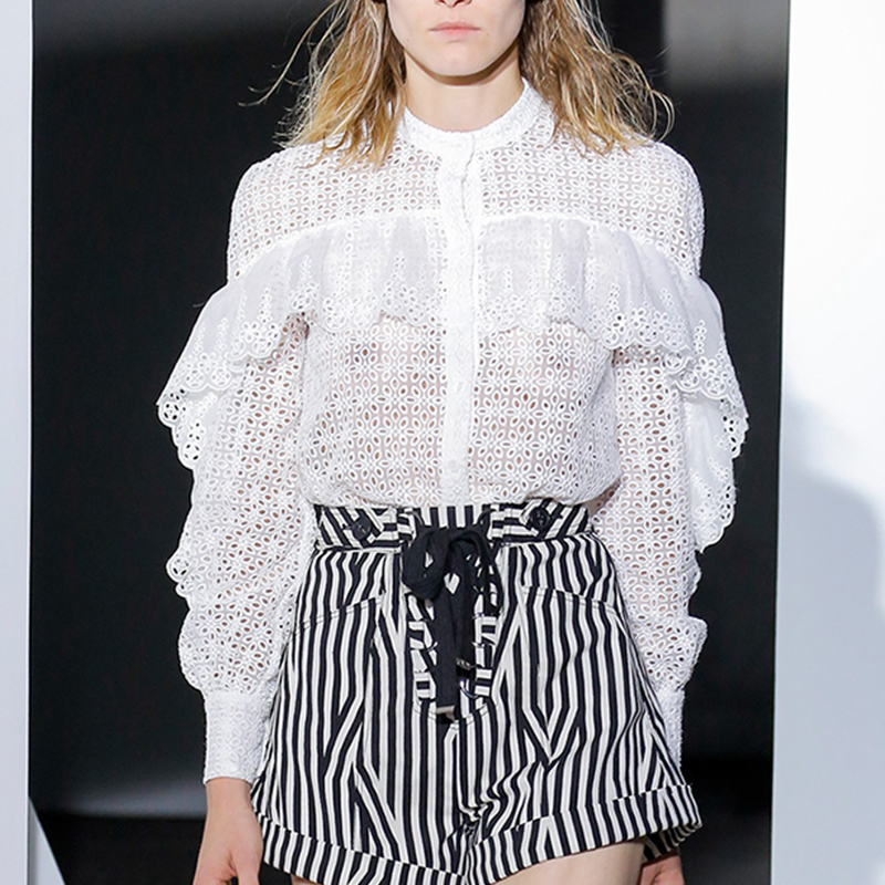 Runway Designer Spring Autumn Women Set Long Sleeve Hollow Out Lace White Blouse Tops and Striped Design Shorts Fashion Suits - 2