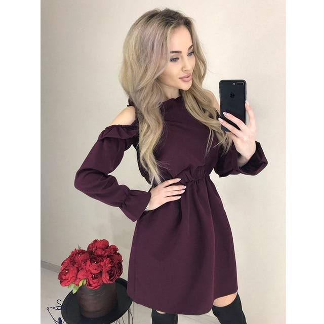 2019 Autumn Women Solid Ruffle Mini Dress Sexy Off Shoulder Long Sleeve Elastic Waist Dress Women Casual A Line Party Dresses 1
