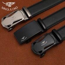MINGLILONG Bestsale Luxus Marke Männlichen Gürtel Echtes Leder Gürtel Für Männer Hohe Qualität Pasek Schwarz Automatische Schnalle Gürtel
