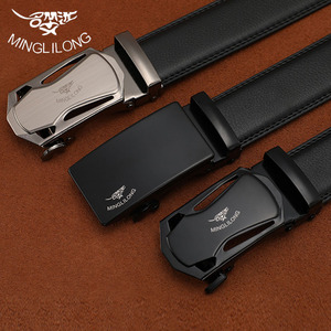 Image 1 - MINGLILONG Bestsale الفاخرة العلامة التجارية الذكور أحزمة أحزمة جلد طبيعي للرجال عالية الجودة Pasek الأسود التلقائي مشبك الأحزمة