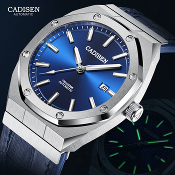 CADISEN 2020 Luxury Automatic Mechanical Watches Men Fashion Top Brand Leather Watch Man 100m Waterproof Blue Dial Wristwatch boyzhe luxury brand mechanical watches 3d dial multifunction sports watch full stainless steel man watch waterproof wristwatch