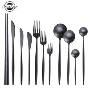 Matte Black Cutlery Set Stainless Steel Flatware Set Kitchen Silverware Steak Tableware Dinnerware Spoon Fork Knife Chopsticks(China)