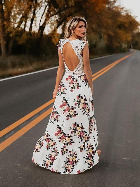 Hot sale Women v-neck short sleeve elegance fitness Summer Vintage Boho Long Maxi Dress Party Beach Dress Floral Sundress 5