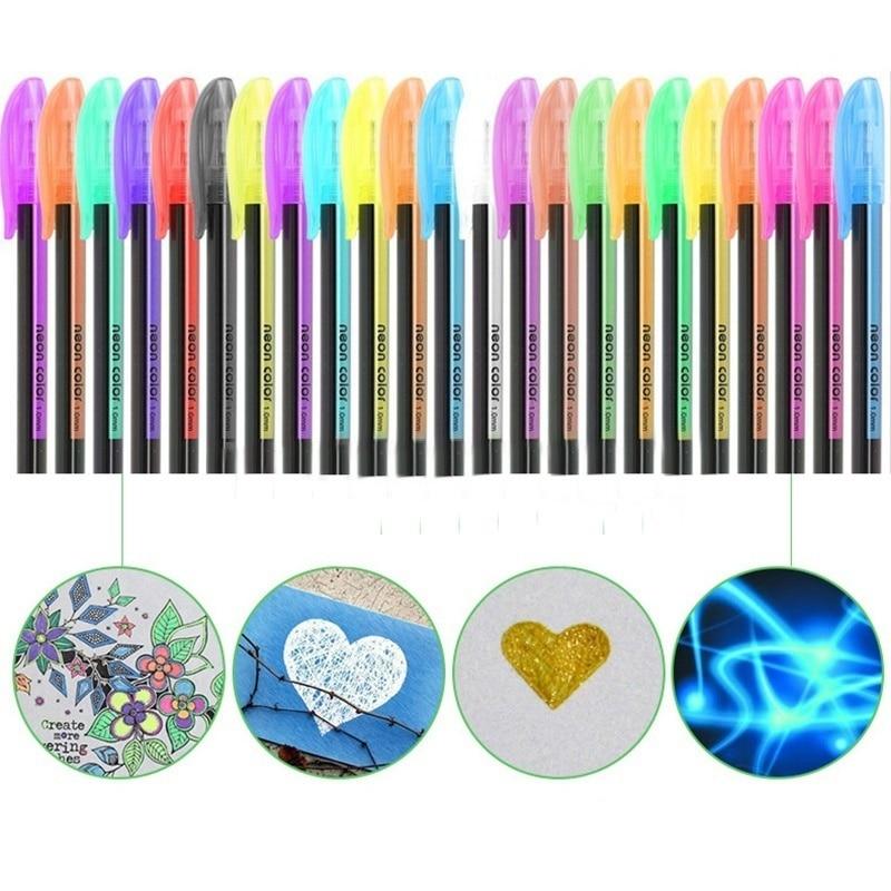 Набор гелевых ручек 12 шт./лот, металлические пастельные неоновые блестящие цветные ручки для рисования скетчей, школьные канцелярские марк...