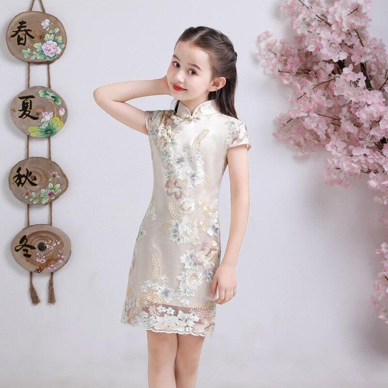 Cute Kids Princess Girl Dress Wedding Praty Dresses Summer Flower Cheongsam