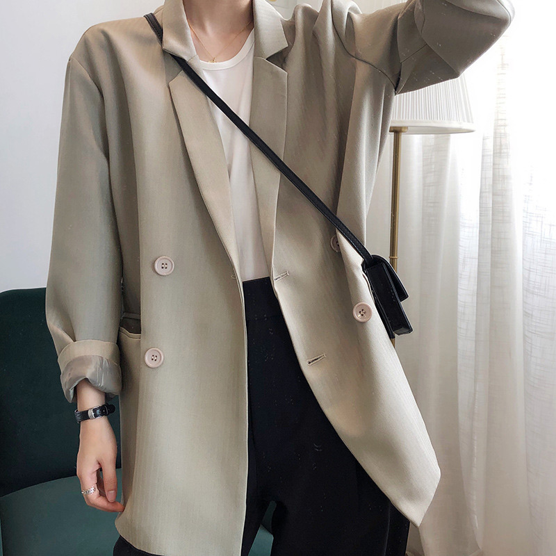 Vintage Double Breasted Striped Blazer Women Khaki Pocket Long Sleeve Retro Ladies Blazers Spring Summer Female Outerwear Coats