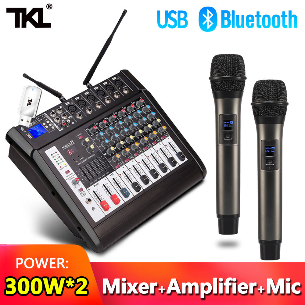TKL 6 Channel Audio Mixers with 300Wx2 Power Amplifier Wireless Microphone Effector REC Sound Mixing MP3 Bluetooth DJ mixerDJ Equipment   -
