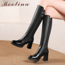 Купить с кэшбэком Meotina Winter Knee High Boots Women Natural Genuine Leather Zip Chunky High Heel Long Boots Buckle Round Toe Shoes Lady Size 39