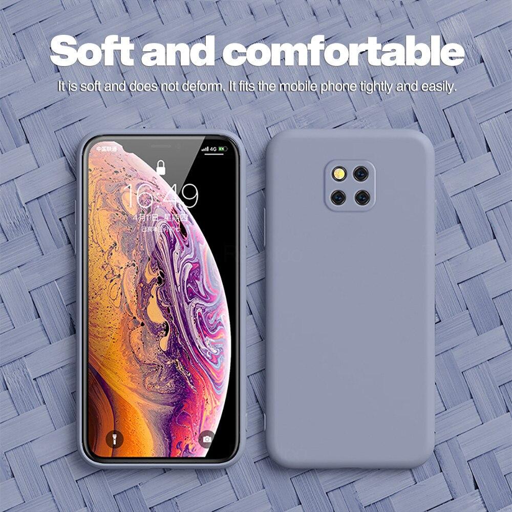 Sıvı silikon koruyucu kapak için Huawei Mate 20 Pro katı renk cep telefonu koruyucu kılıf için Huawei mate20 Pro arka kapak