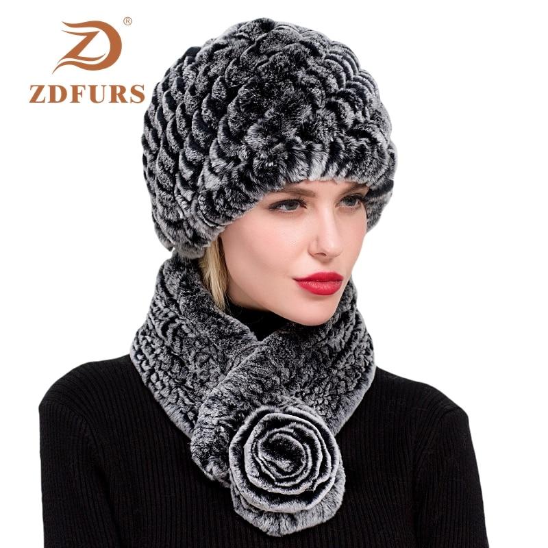 ZDFURS *winter Women Real Rex Rabbit Fur Hat  Scarf 2 Piece Set Handmade Knit Genuine Rabbit Fur Caps Brand Fashion Hat Scarf
