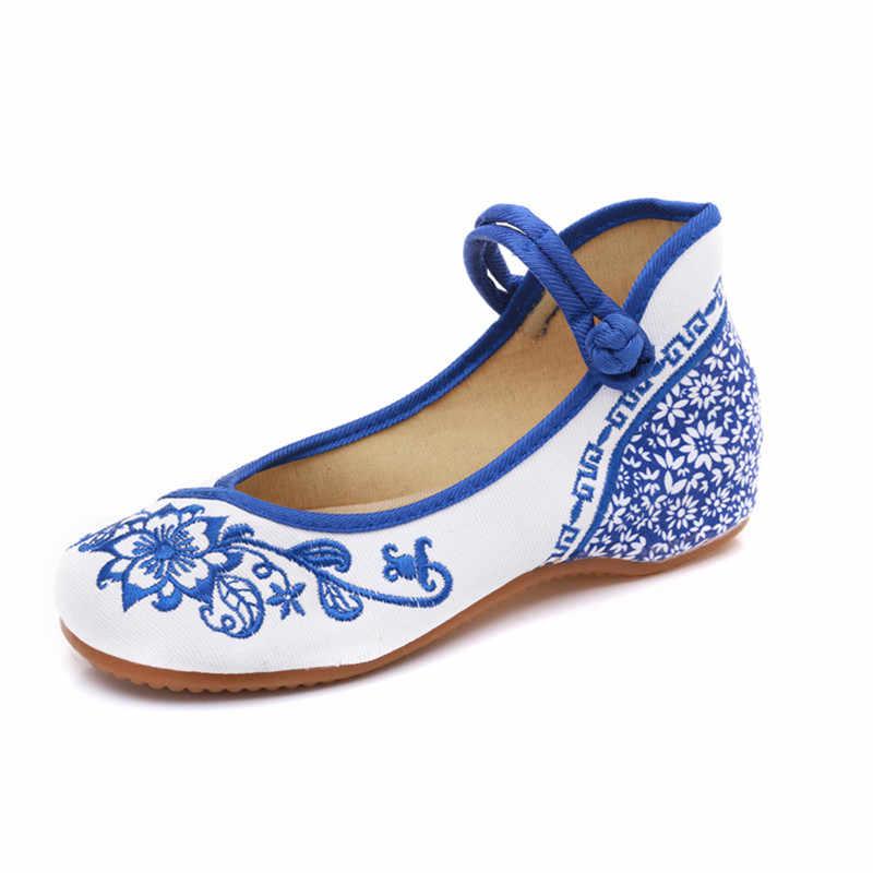 Blu Fiori Ricamati delle Donne di Tela di canapa di Balletto Appartamenti Vintage Cinese Tradizionale Delle Signore casual Cinturino Alla Caviglia del Cotone Scarpe Da Ballo