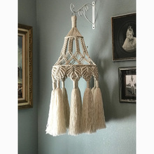 Macrame Lampshade Hand-woven Wall Hanging Pendant Light Shade Cover Bohemian Tapestry Home Decoration