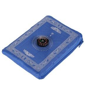 Image 2 - ポータブル防水イスラム教徒祈りマット敷物コンパスヴィンテージ柄イスラム Eid 装飾ギフトポケットサイズのバッグジッパースタイル