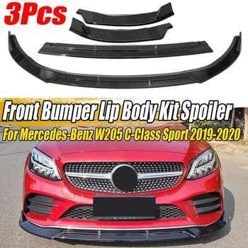 3PCS Car Front Bumper Splitter Lip Spoiler Diffuser Cover Trim Deflector Lips For Mercedes For Benz W205 C-Class Sport 2019-2020