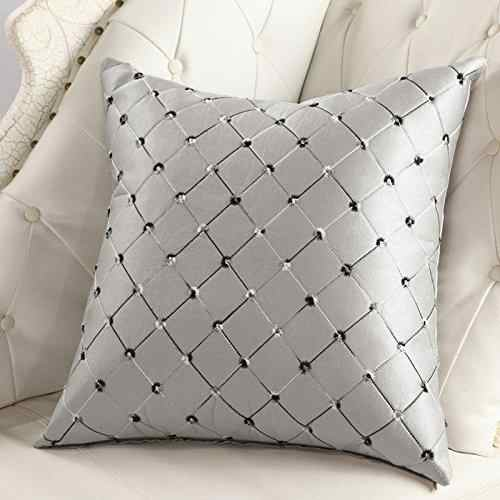 HobbyLane Cushion Cover Home Sofa Bed Decor Multicolored Plaids Throw Pillow Case Square Cushion Cover Silver Gray