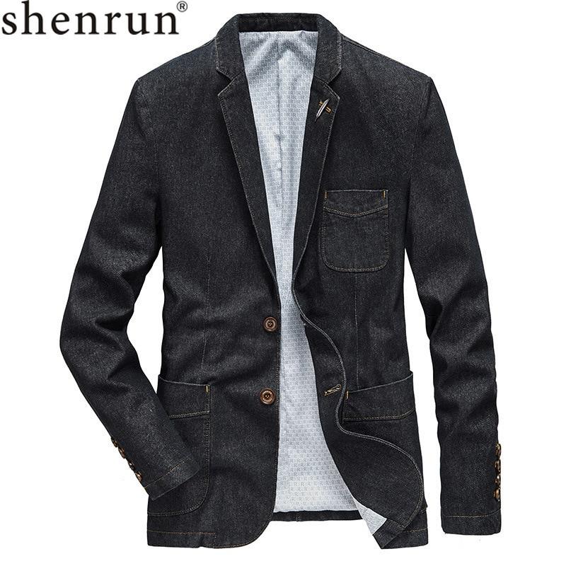 Shenrun Mens Denim Blazer Autumn Winter New Fashion Denim Jacket Vintage Suit Jacket Black Cowboy Blue Casual Blazers Business
